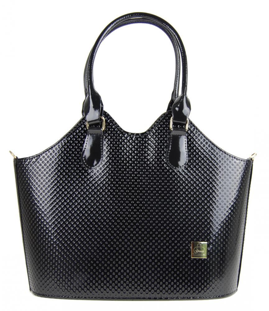 Tečkovaná kabelka S455 černý lak