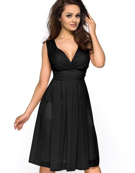 Elegantní černé šaty KM117-1