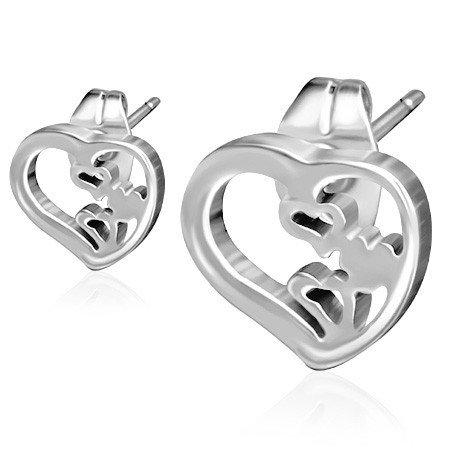Ocelové náušnice - srdce th-jes315