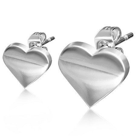Ocelové náušnice - srdce th-jes309