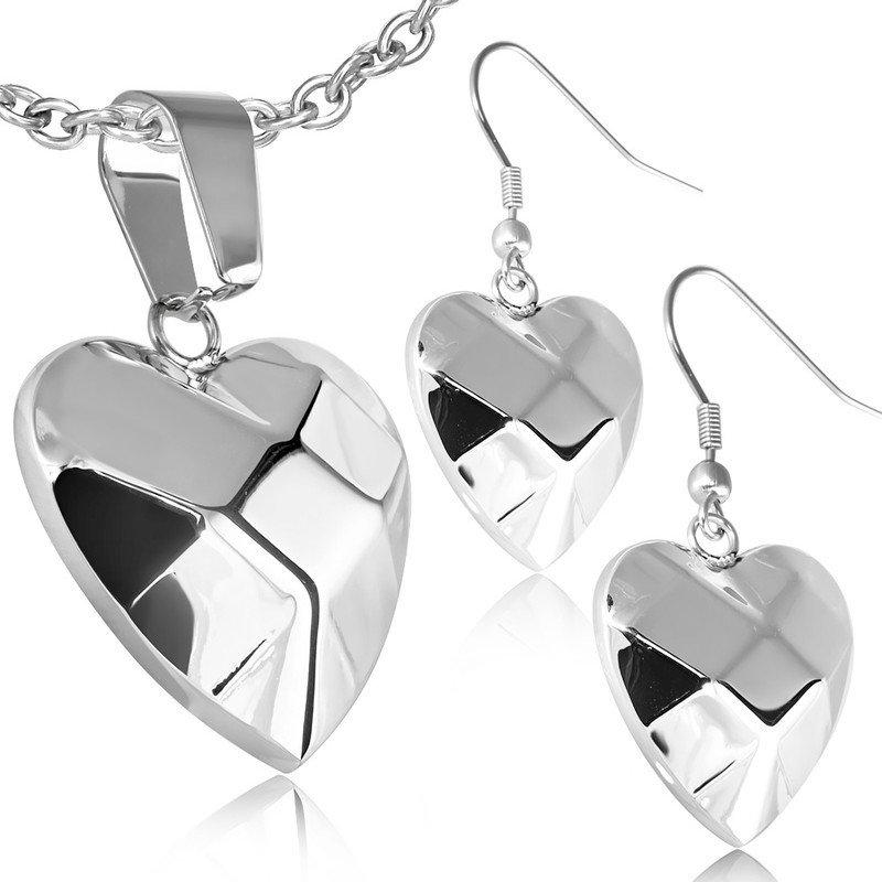 Set ocelových šperků - srdce th-set650